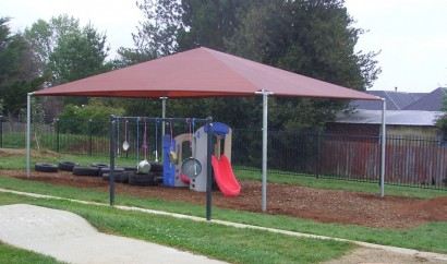 Shade canopy for playground