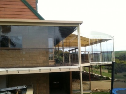 Clear screens and awnings for protection from the weather