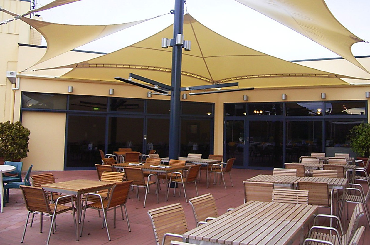 Weather protection for resort outdoor area